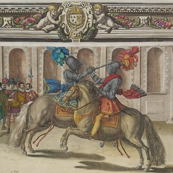 Jousting Print from Le Manège Royal - L'Instruction du Roy, en L'Exercice de Monter a Cheval, Fig. 49, Part 3, detail