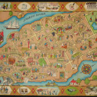 Pictorial Map, Manhattan Depicting Bright Spots in that Dark Era