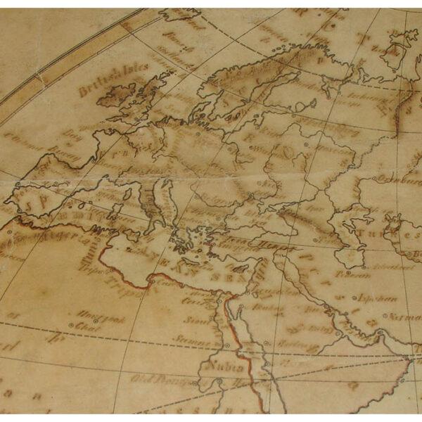 Relfe World Map, Double Hemisphere, detail