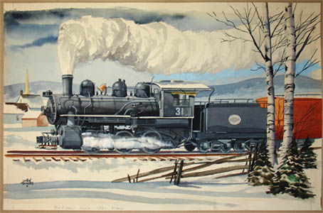 [Strasburg Railroad Steam Locomotive in Winter] detail