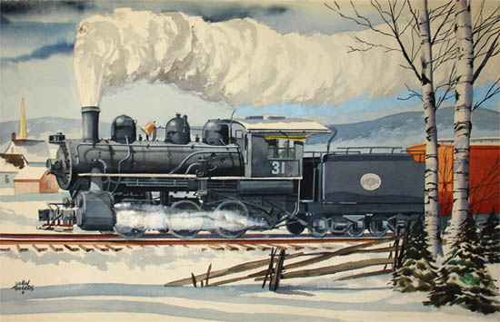[Strasburg Railroad Steam Locomotive in Winter]
