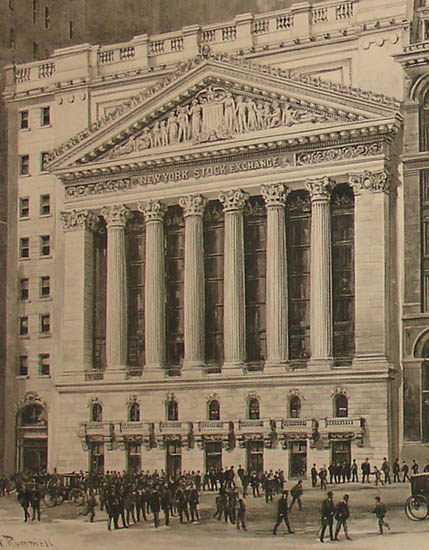 Stock Exchange facade detail.