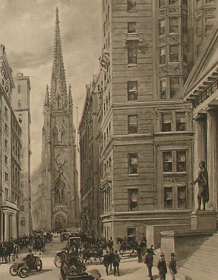 Trinity Church detail with statue of George Washington in right foreground.