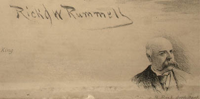 Artist's signature in plate and small portrait of George B. Post, architect of the New York Stock Exchange, in lower left margin.
