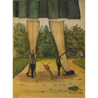 High Heels, 1940s humorous watercolor