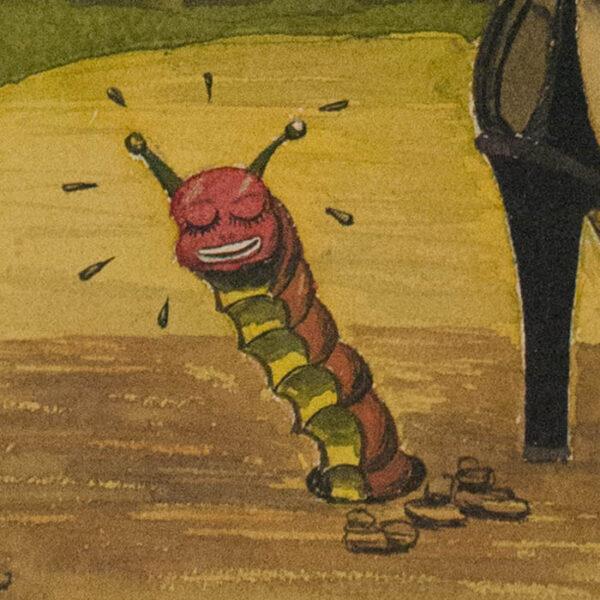 High Heels, 1940s humorous watercolor, detail of caterpillar