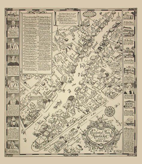 Pictorial Map, Nantucket, Mass. Residential Main Street