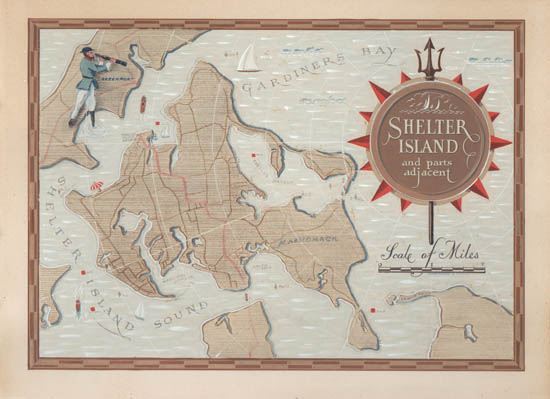 Map Long Island New York Pictorial Shelter Island Claude