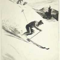 Downhill Skiers Drypoint Etching