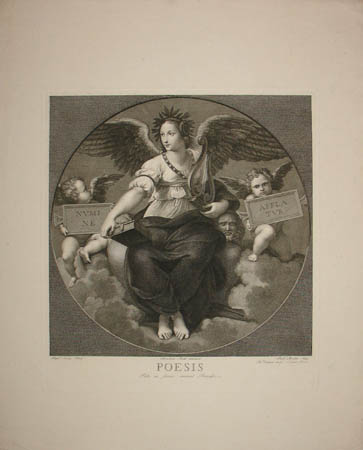 Poesis - Engraving of Frescoes after Raphael in Papal Private Library