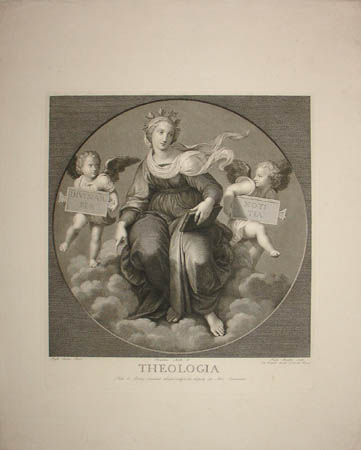 Theologia - Engraving of Frescoes after Raphael in Papal Private Library