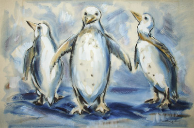 Watercolor of Penguins