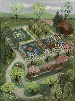 garden view with cottage - Garden Design Birds Eye View