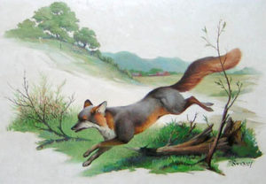 Black fox painting