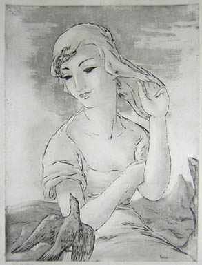 Pair of Etchings of Women with Doves