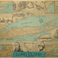 Pictorial Map, Historical Portrait of Long Island from 1600 to 1850