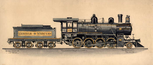 Set of Seven Studies of Locomotives