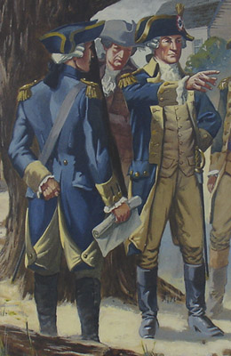 George Washington and His Generals Confer in Manhattan [Eventual Site of 43rd and Broadway], detail