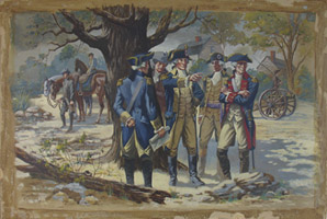 George Washington and His Generals Confer in Manhattan [Eventual Site of 43rd and Broadway], full