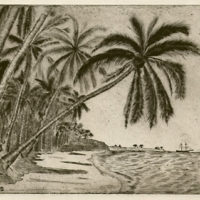 Palm Tree Beach Scene