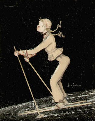 Swish - Vintage Watercolor of Skier