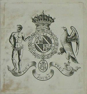 Bookplate with the Coat of Arms of Randal William McDonnell, Earl of Antrim