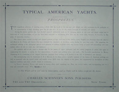 Prospectus from Chromolithographs from Typical American Yachts