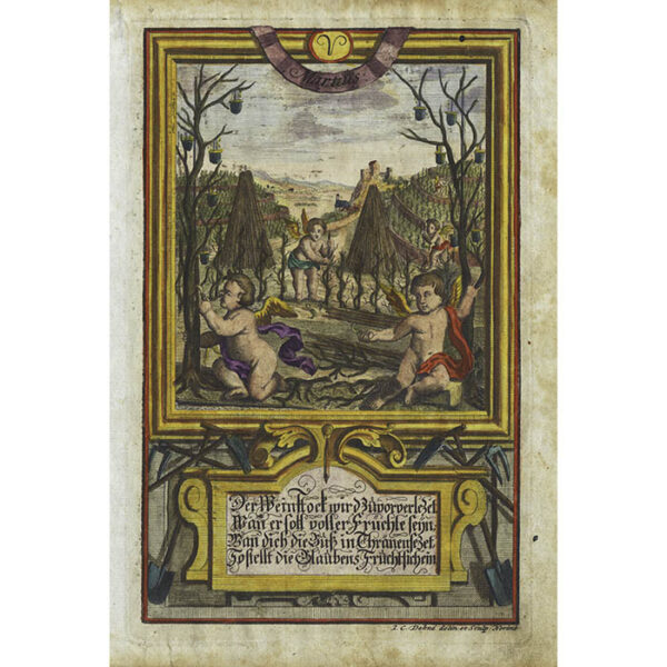 Dehne, Martius (March): A group of cherubs prepares trees for gathering sap.