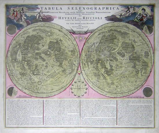 Tabula Selenographica in qual Lunarium Macularum exacta Descriptio secundum Nomenclaturam Praestantissimorum Astronomorum tam HEVELII quam RICCIOLI Curiosis Rei Sidereae Cultoribus exhibentur