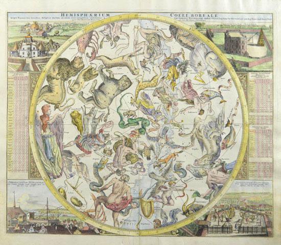 Hemisphaerium Coeli Boreale in quo Fixarum loca secundum Eclipticae ductum ad anum 1730 completum exhibentur...
