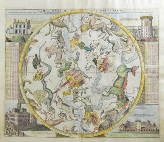 Hemisphaerium Coeli Australe in quo Fixarum loca secundum Eclipticae ductum ad anum 1730 completum exhibentur...