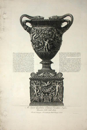 Large Marble Vase with Putti and Vine Leaves