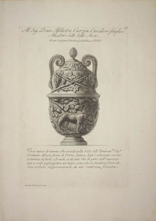 Marble Vase with Relief of a Wolf