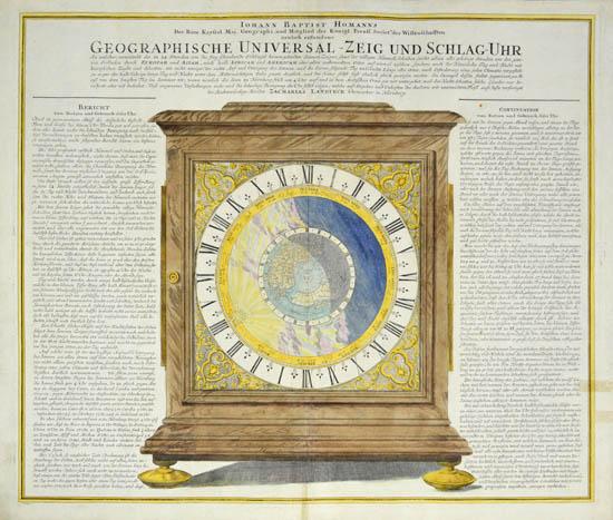 Iohann Baptistae Homanns...neulich erfundene Geographische Universal -- Zeig Und Schlag-Uhr