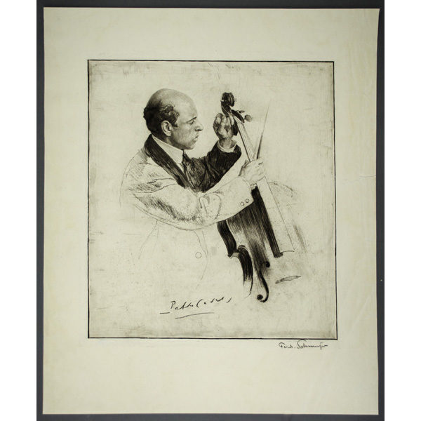 Pablo Casals with Cello, etching