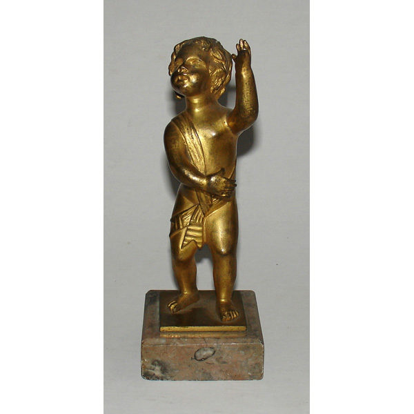 Figurine, Cherub, Gilt Bronze, Small, Antique, 19th Century