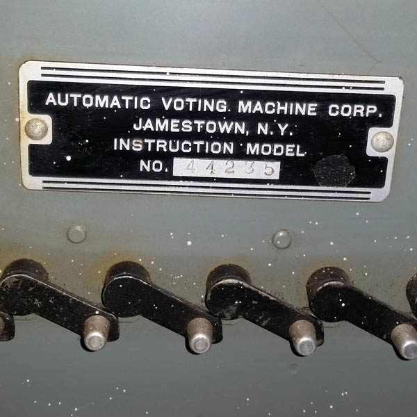 Election Voting Machine Model, 1956, detail of label