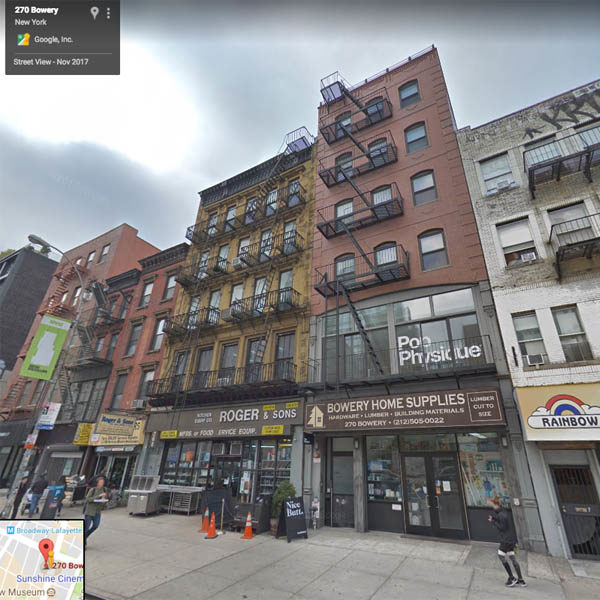 268 and 270 Bowery today (Google satellite view).