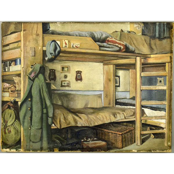 Military Barracks Bunk Bed Vintage Painting