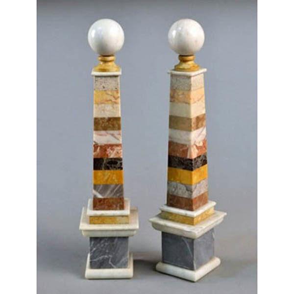 Multi-colored stone obelisks