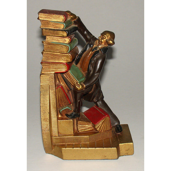 Decorative Arts Bookends Man With Falling Book Stack Vintage Adorable Decorative Bookends For Sale
