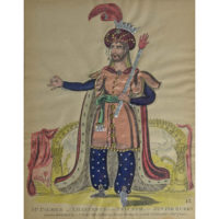 Mr. Palmer as Ahasuerus in the Triumph of the Jewish Queen, tinsel print