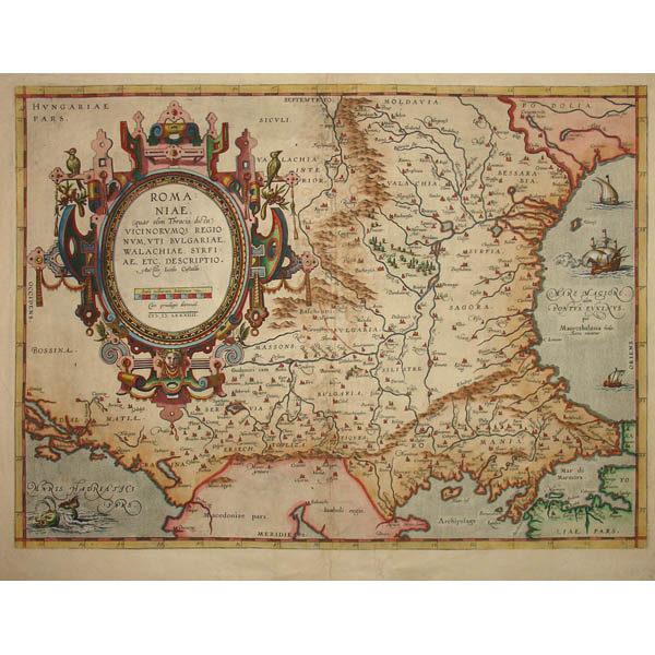 Romaniae, Map of Romania and Surrounding Region by Abraham Ortelius