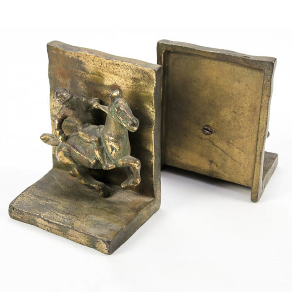 Decorative Arts Bookends Polo Player Bronze Vintage 40s Beauteous Decorative Bookends For Sale