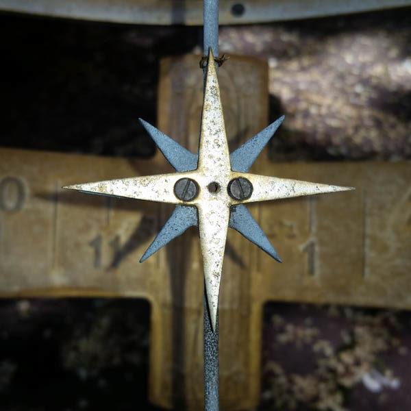 Garden Armillary Sundial, detail of compass