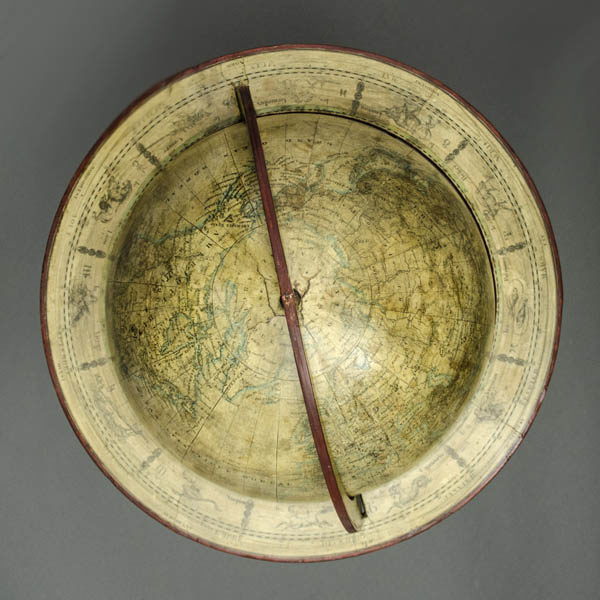 Dien 10-Inch Terrestrial Globe, detail of horizon band, North Pole and Arctic
