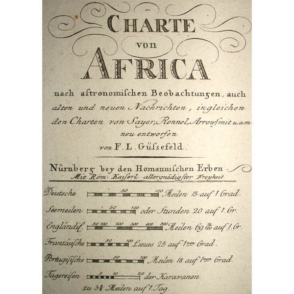 Cartouche and legend of Charte von Africa