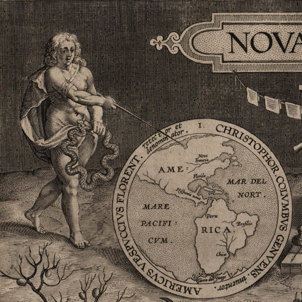 Detail of allegorical woman and map of the Western Hemisphere.