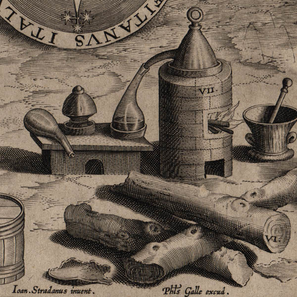 Detail of distillation implements and guaiacum wood.
