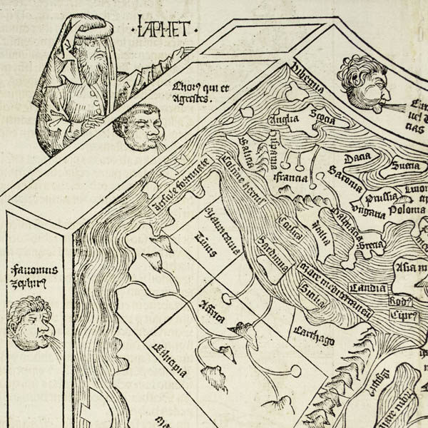 Detail of Noah's son Japeth, windheads and a portion of the map